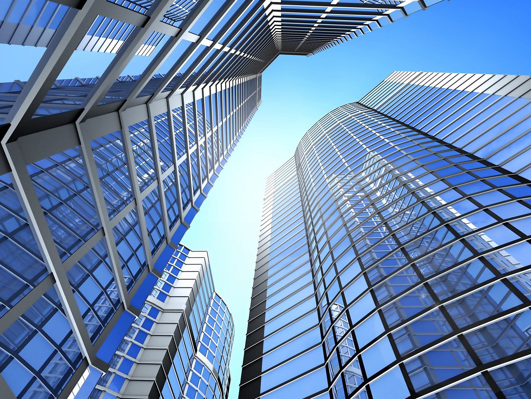 Tall office buildings with a blue sky